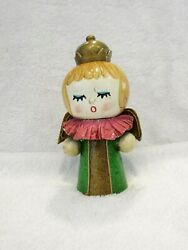 Vintage Christmas Ornament 1960's Paper Mache' Angel Queen 6 Inches Tall