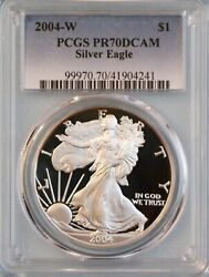 2004-w Silver Eagle Pcgs Pr70dcam - Ase - 19th Year Of Issue - Free Shipping