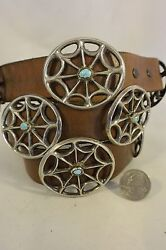 13+ozt. Navajo Concho Belt 11 Tufa Sand Cast Sterling Silver Turquoise Buckle