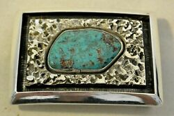 Signed Frank Patania Belt Buckle With Shadow Box Turquoise Sterling Silver
