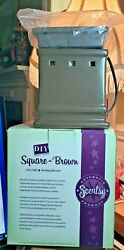 Scentsy Full Size Warmer Brown Glazed Square DIY Collection Discontinued