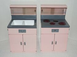 Vintage Little Miss Structo Ge Toy Stove/oven And Sink In Pink Metal 13 High