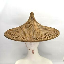 Vintage Conical Hat Asian Coolie Straw Bamboo Rice Field Farm Gardening Beach