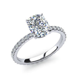 Cushion 0.82 Ct Stunning Diamond Engagement Rings Solid 14k White Gold Size 6 7