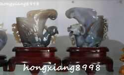 7 Natural Agate Onyx Carving Dragon Loong Phoenix Beast Cup Cups Statue Pair