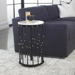 15 W Accent Table White Marble Hand Forged Steel Brass Details Modern