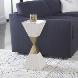 10 W Accent Table Inverted Pyramids Quartered Oak Veneer Brass Stainless Steel