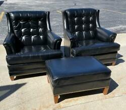 Pair Heritage Leather Chairs With One Ottoman Brass Nail Head Trim