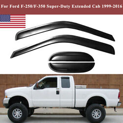 Window Visor Rain Guards Shades For Ford F250/f350 Super Duty Extended Cab 99-12