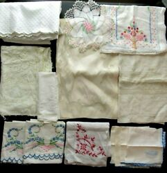 21 Piece Vintage Linens Lot Pillowcase Table Runner Placemats Embroidered