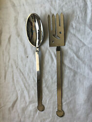 Bissell And Wilhite Xum Pattern Stainless Steel Serving Fork And Spoon Salad Set