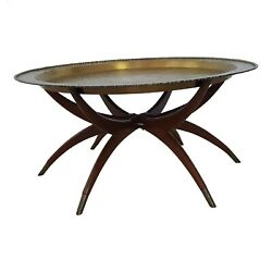 Vintage Chinese Imports Brass Spider Leg Tray Table Made In Hong Kong