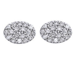 14k White Gold Round Cut Natural Diamond Oval Earrings