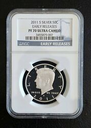 2011 S Kennedy Silver Half Dollar Ngc Pf70 Ultra Cameo Early Releases