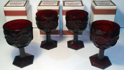 Vintage Set 4 Avon 1876 Cape Cod 6 Inch Ruby Red Goblets Water / Wine Four