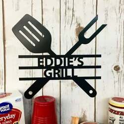 Personalized The Grill Name Sign Black Metal Wall Art Outdoor Decor Gift