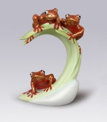 Herend Hungary Porcelain Three Tree Frogs On Leaf 15269vh-or Fishnet Brand New