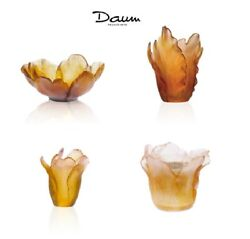 Daum Set 4 Small Tulip Bowls, Vase, Candle Holder France Crystal New In Box