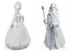 Lladro Retired Set 01008411 Father Frost 01008412 Snow Maiden New Box 8411 8412