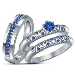 Blue Sapphire Trio Set His Her Engagement Ring Wedding Band 14k White Gold Over