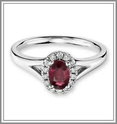 Oval Ruby And Diamond Gemstone Halo Ring Red Beautiful Engagement Ring