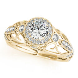 Excellent Round 0.90 Ct Real Diamond Engagement Ring 14k Yellow Gold Size 7 8 9