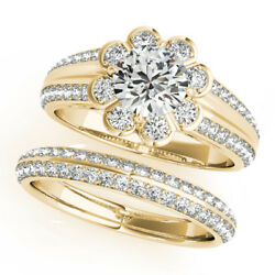 1.60 Ct Round Diamond Engagement Ring Set Solid 14k Yellow Gold Band Size 8 7 5