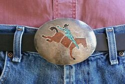 Xxl Navajo Belt Buckle Rodeo Cowboy Sterling Silver Coral And Turquoise Trophy