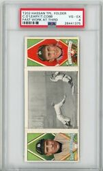 1912 T202 Hassan Triple Folder Ty Cobb And O'leary Fast Work At 3rd Psa 4 Vg-ex