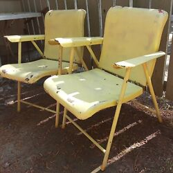 Pair Of Midcentury Russell Wright Design For Schwayder Bros Metal Folding Chairs
