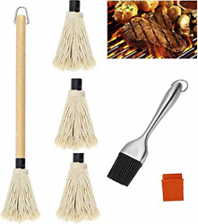 Bbq Basting Mop 3 Extra Replacement Heads With 18 Inch Wooden Handle, Bbq Brush