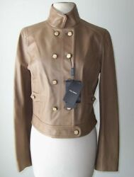 Dolce And Gabbana Tan Leather Military Motorcycle Coat Jacket 42 6 Or 44 8