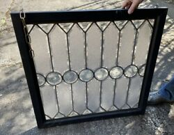 Antique Beveled Textured And Wheel Cut Glass Window In Frame