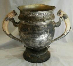 Antique Silverplate Hunting And Shooting Trophy Cup With Horn Handles From 1911