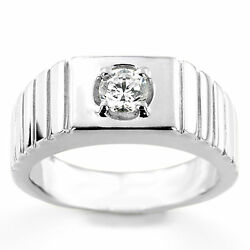 Solid 14k White Gold Natural 0.35 Ct Diamond Menand039s Engagement Rings Size 10 12