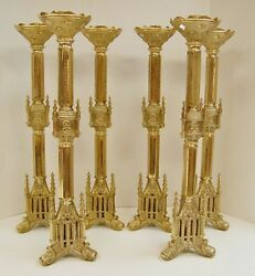 Set Of Six 6 Brass Gothic Altar Candlesticks 24 Ht. 34 Chalice Co.