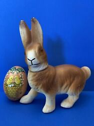 Vintage German Chalkware Bunny Rabbit Glass Eyes Candy Container Free Easter Egg
