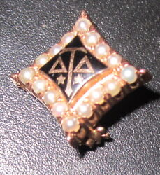 Antique Vintage 14k Gold Delta Tau Delta Fraternity Pin Badge W/seed Pearls