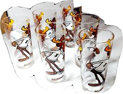Set Of 6 Vintage Collector Pepsi Cola Glass Bullwinkle 1970s Glasses P.a.t Ward