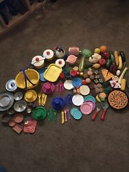 Huge Lot Mtc Play Pretend Prop Food Dishes Fisher Price Vintage Mixed Tin Picnic
