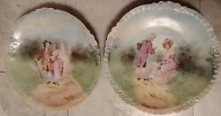 Pair Of Decorative Porcelain Wall Hangings Plates Courting Couple On Garden Path