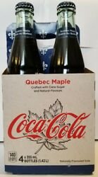 Authentic Quebec Canada Coca Cola Glass Bottles - Full 4 Pack - Maple Syrup Coke