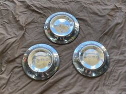 1952-1954 Ford Dog Dish Poverty Hubcap Center Caps Set Of 3 Rough Damaged