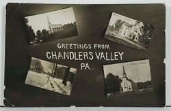 Pa Greetings From Chandlers Valley Rppc Multi View Warren Co Penna Postcard M8