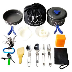 Gold Armour 17Pcs Camping Cookware Mess Kit Backpacking Gear amp; Hiking Outdoors $41.30