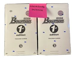 In Hand 2021 Bowman Baseball 1st Edition Sealed Hobby Box Lot Of 2