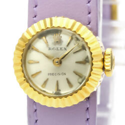 Vintage Rolex Chameleon 18k Gold Leather Hand-winding Ladoes Watch Bf526836
