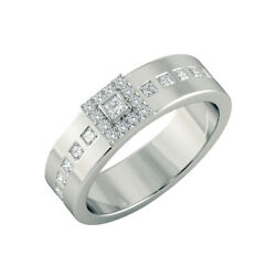 Solid 14k White Gold 0.55 Ct Real Diamond Anniversary Ring Menand039s Band 10 11 12