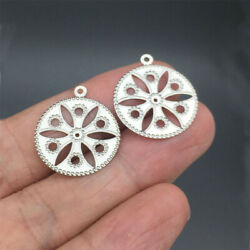 50pcs Stainless Steel Filigree Stamping Charms Round Dull Silver Hollow Flowers