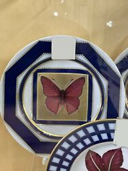 Porcelain Decorative Plate Butterfly №6 Russian Imperial Lomonosov Gold Green